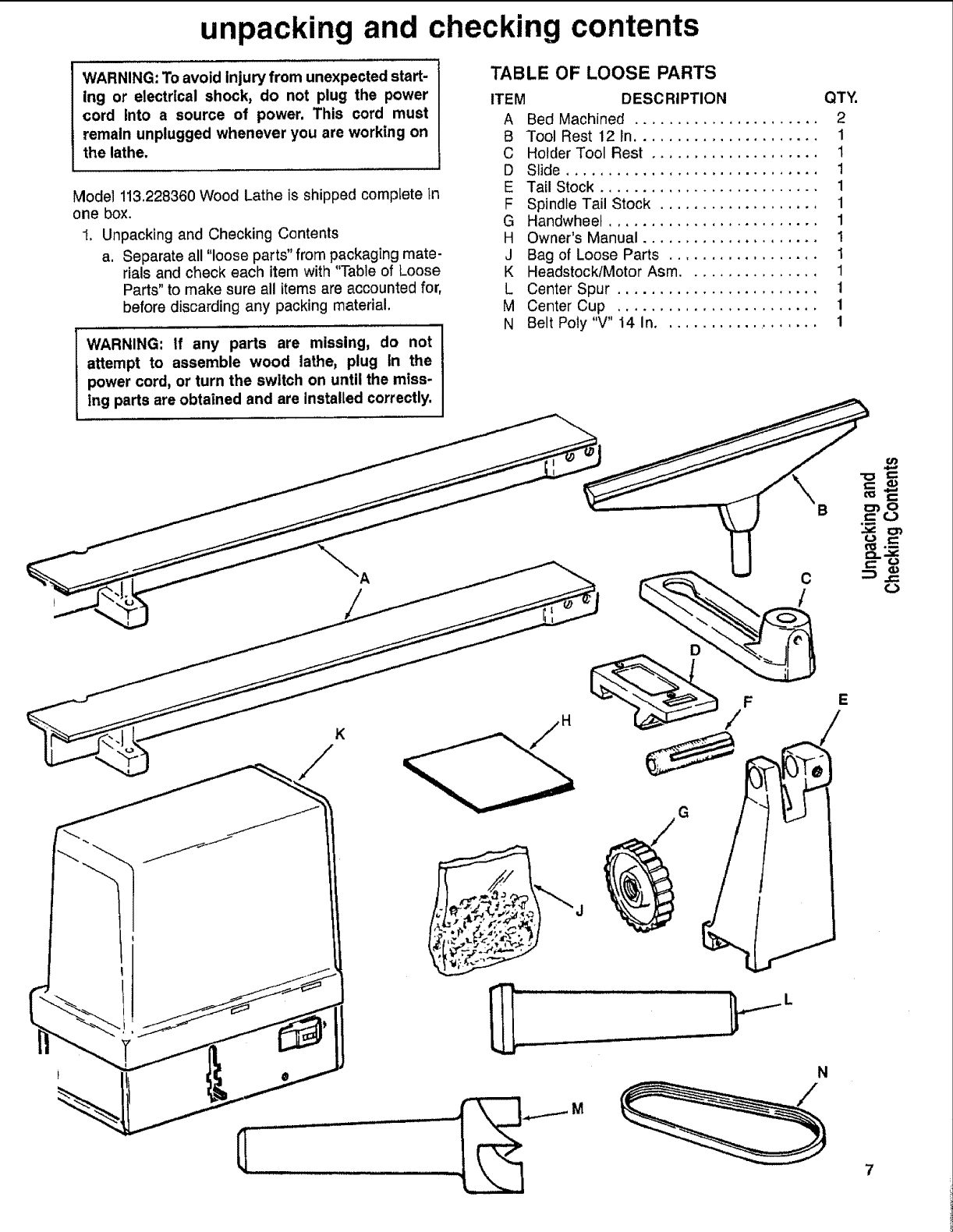 Craftsman 113228360 User Manual 12 Inch Wood Lathe Manuals And Engine Parts Diagram Guides L1001071