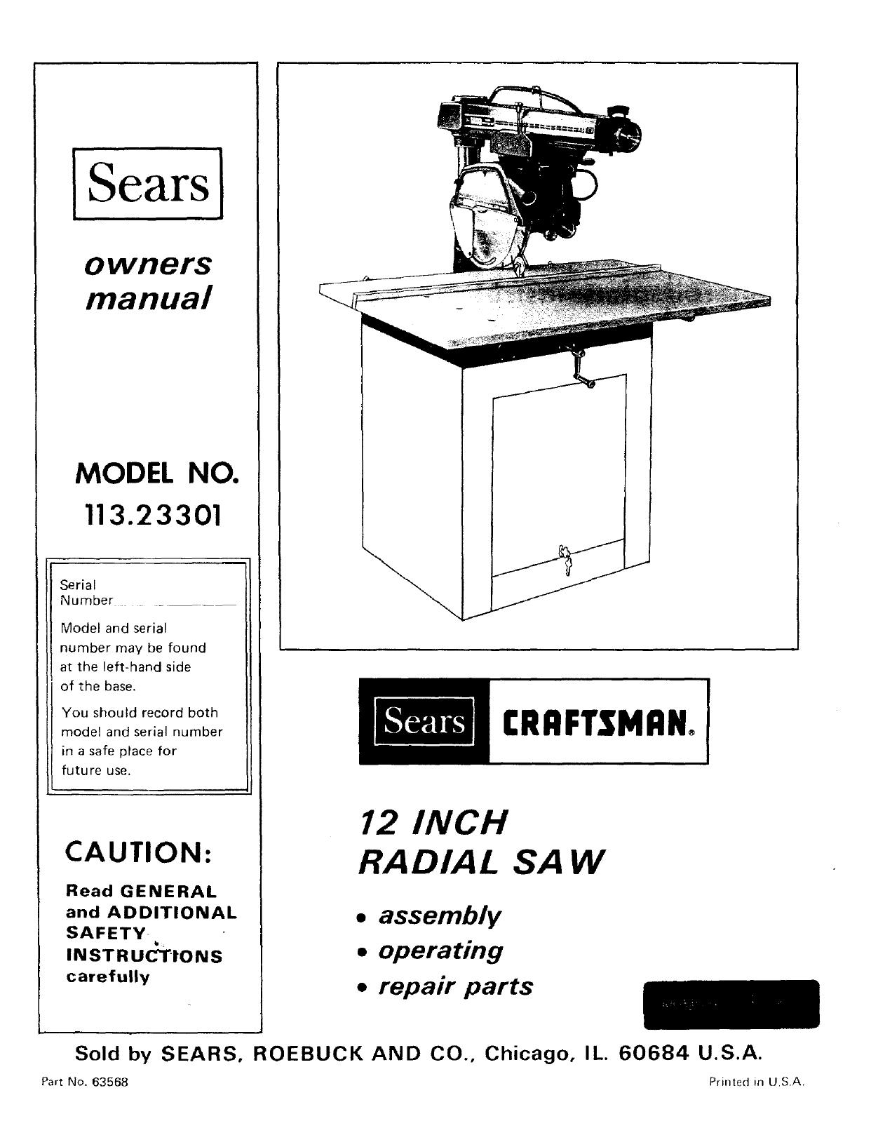 craftsman saw wiring diagram craftsman 11323301 user manual 12 in radial saw manuals and guides  user manual 12 in radial saw manuals