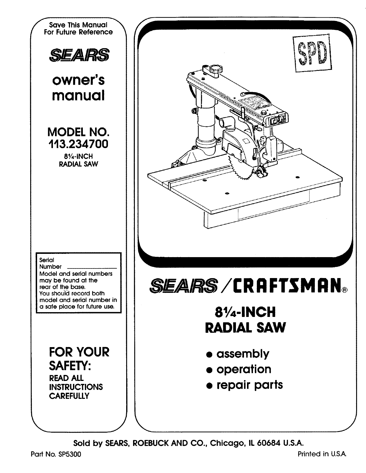 craftsman 113234700 user manual radial arm saw manuals and guides l0803157