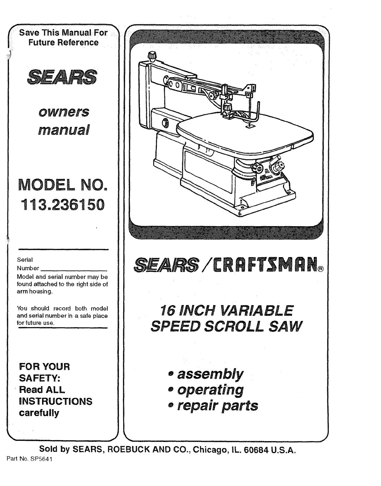 craftsman saw wiring diagram craftsman 113236150 user manual scroll saw manuals and guides l1002142  113236150 user manual scroll saw
