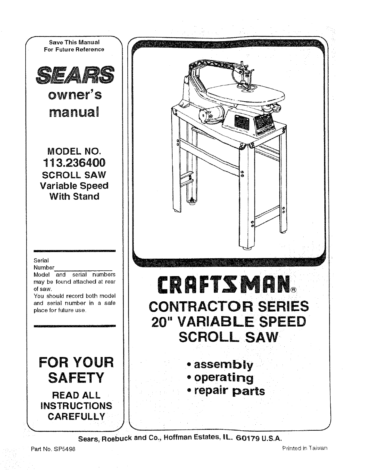 Craftsman 113236400 user manual scroll saw manuals and guides l0804184 greentooth Images