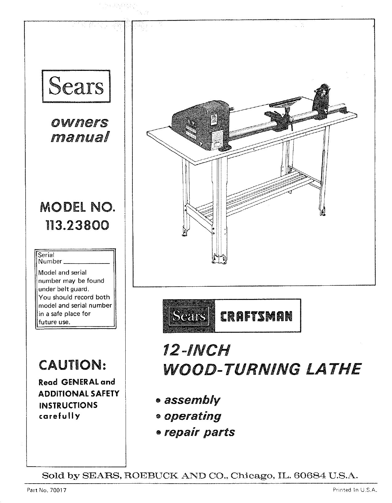 "Sears Craftsman 113.23851 Wood Lathe 12/"" Instructions /& Parts List Manual #1464"