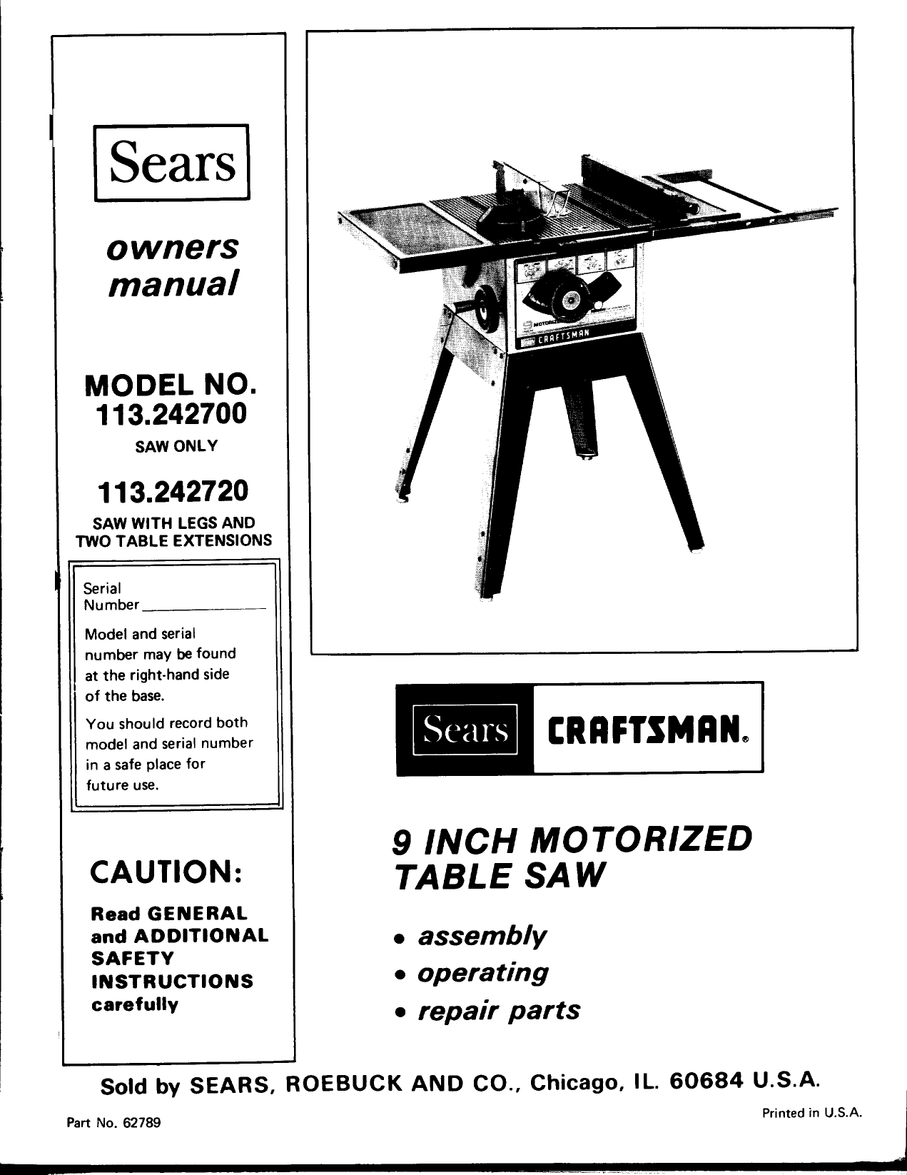 Sears Table Saw Switch