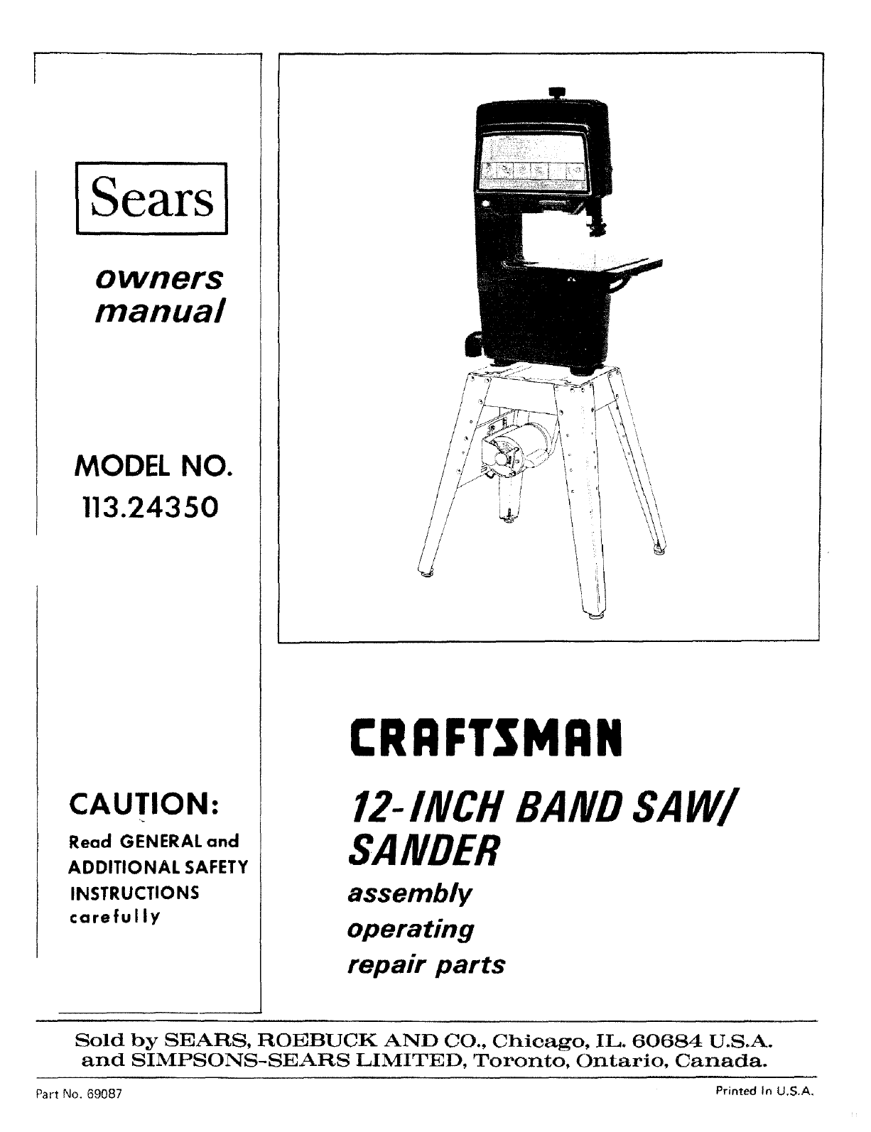 Craftsman Craftsman 12 Inch Band Saw Parts Manual Guide