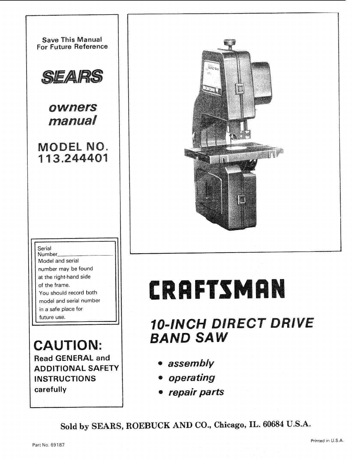 craftsman 10 inch band saw manual