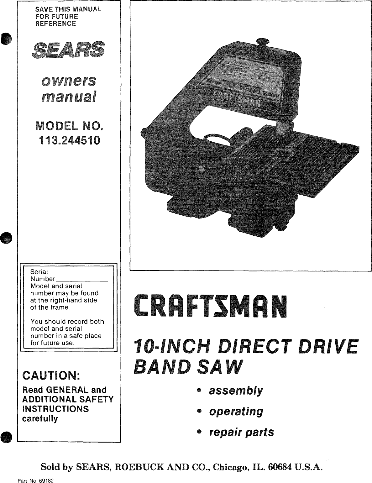 craftsman 113244510 user manual 10 inch direct drive band saw