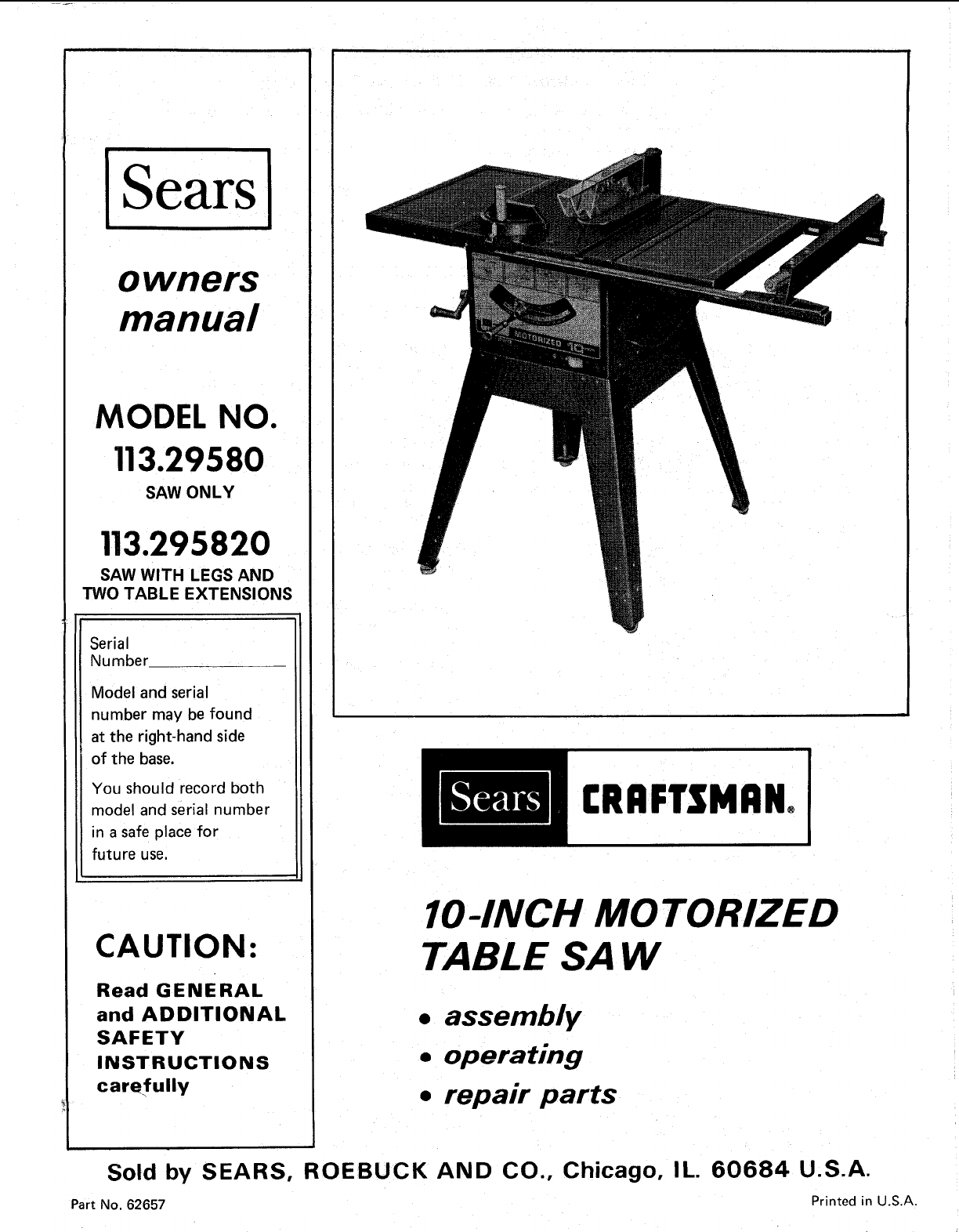 Craftsman 11329580 User Manual 10 Inch Motorized Saw Manuals And Guides L0904331