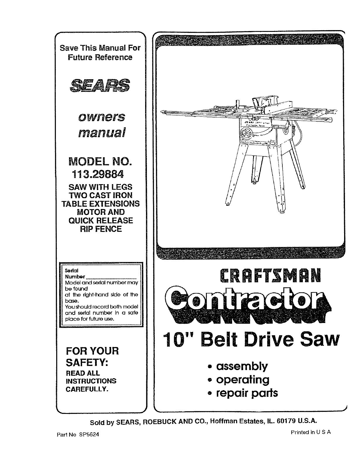 Craftsman 113298842 User Manual Table Saw Manuals And Guides L0803094 Sears 10 Switch Wiring Diagram
