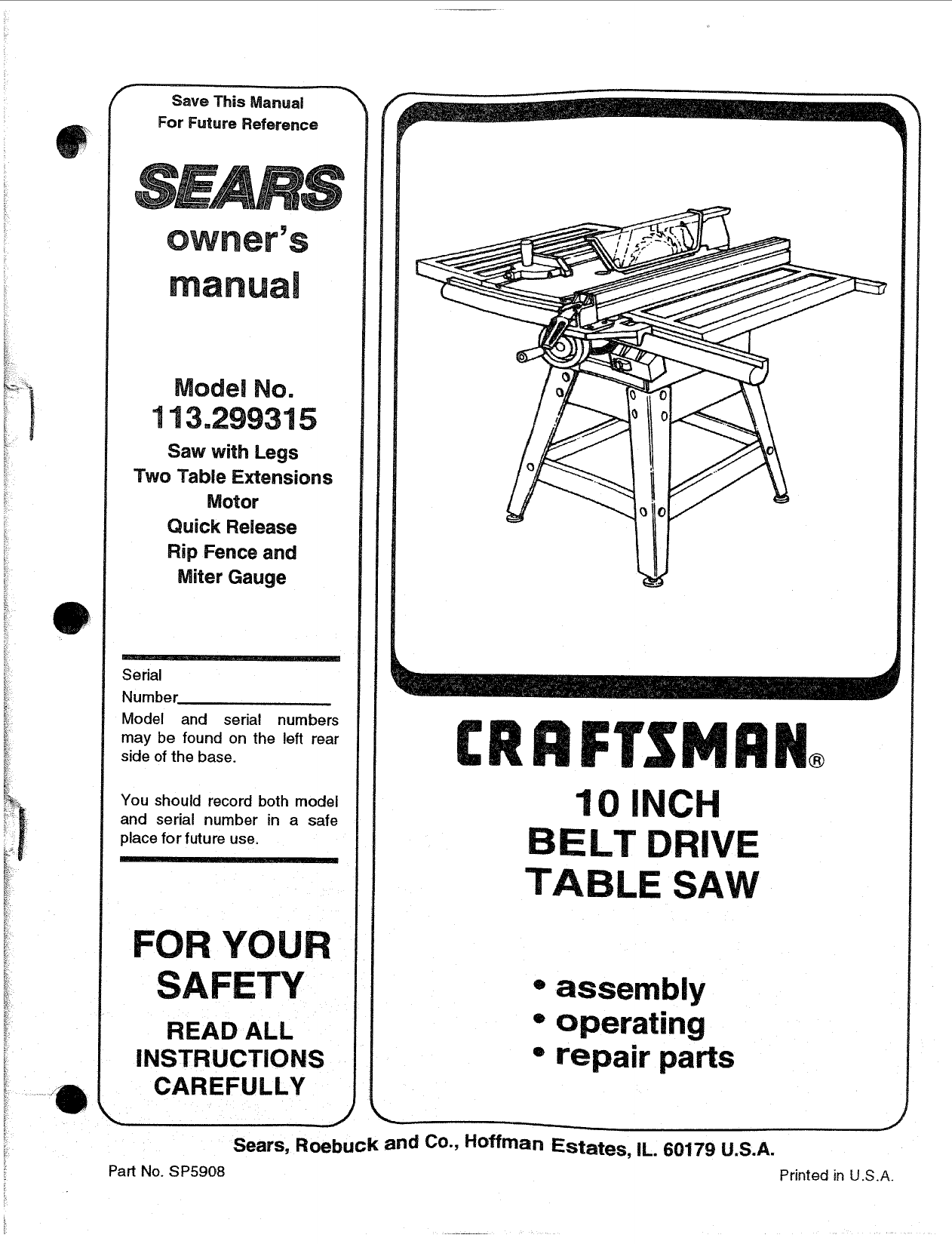 Craftsman 113299315 User Manual 10 Belt Drive Table Saw Manuals And