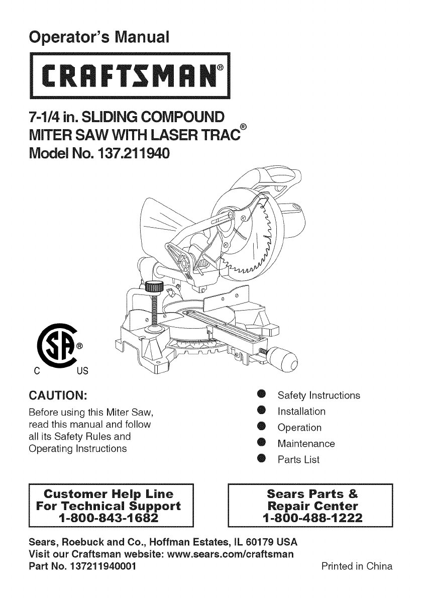 Craftsman Compound Miter Saw Wiring Diagram Schematics Data 137211940 User Manual Manuals And Portable Band