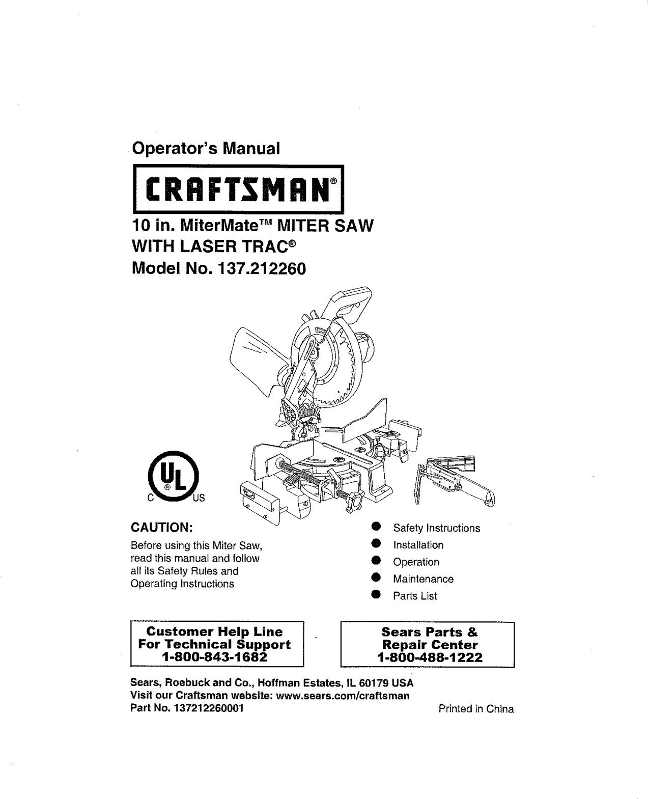 Craftsman 137212260 User Manual Miter Saw Manuals And Guides L1002157 Extension Cord Circuit Breaker From Searscom