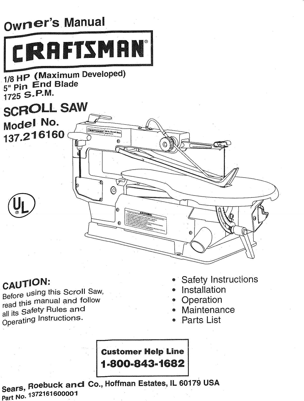 Craftsman 137216160 user manual scroll saw manuals and guides l0808290 page 1 of craftsman 137216160 user manual scroll saw manuals and guides l0808290 greentooth Image collections