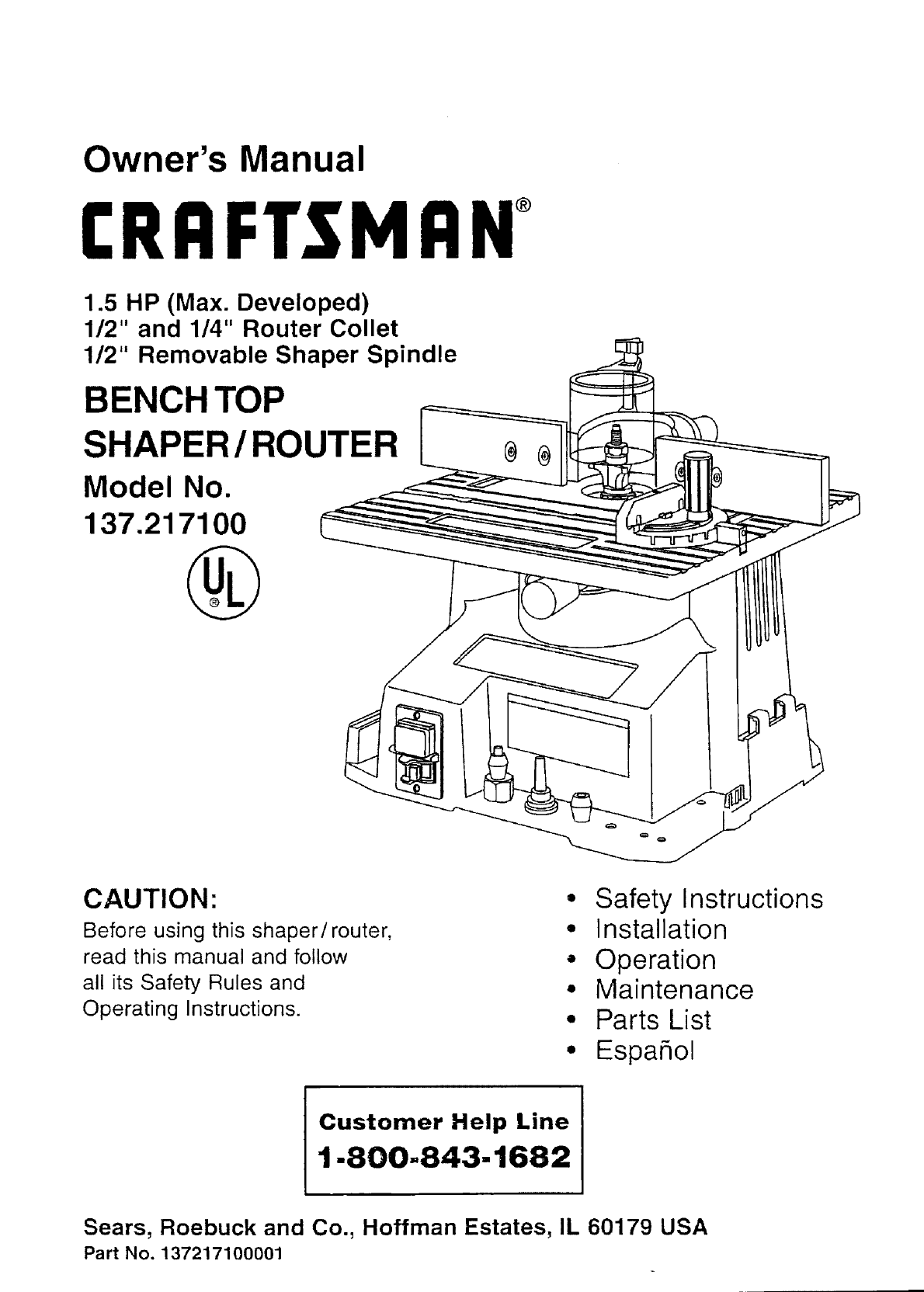 Craftsman 137217100 User Manual Shaper Router Manuals And Guides 1 4 Hp Ii Wiring Diagram L0712076