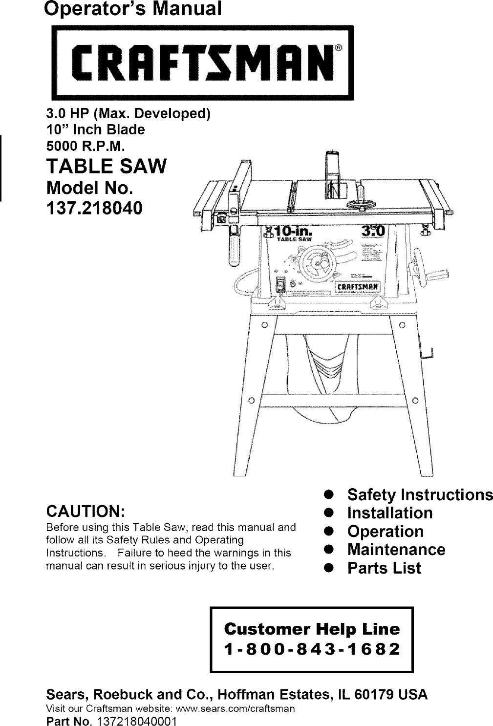Craftsman 137218040 User Manual Table Saw Manuals And Guides L0408136 Sears 10 Switch Wiring Diagram