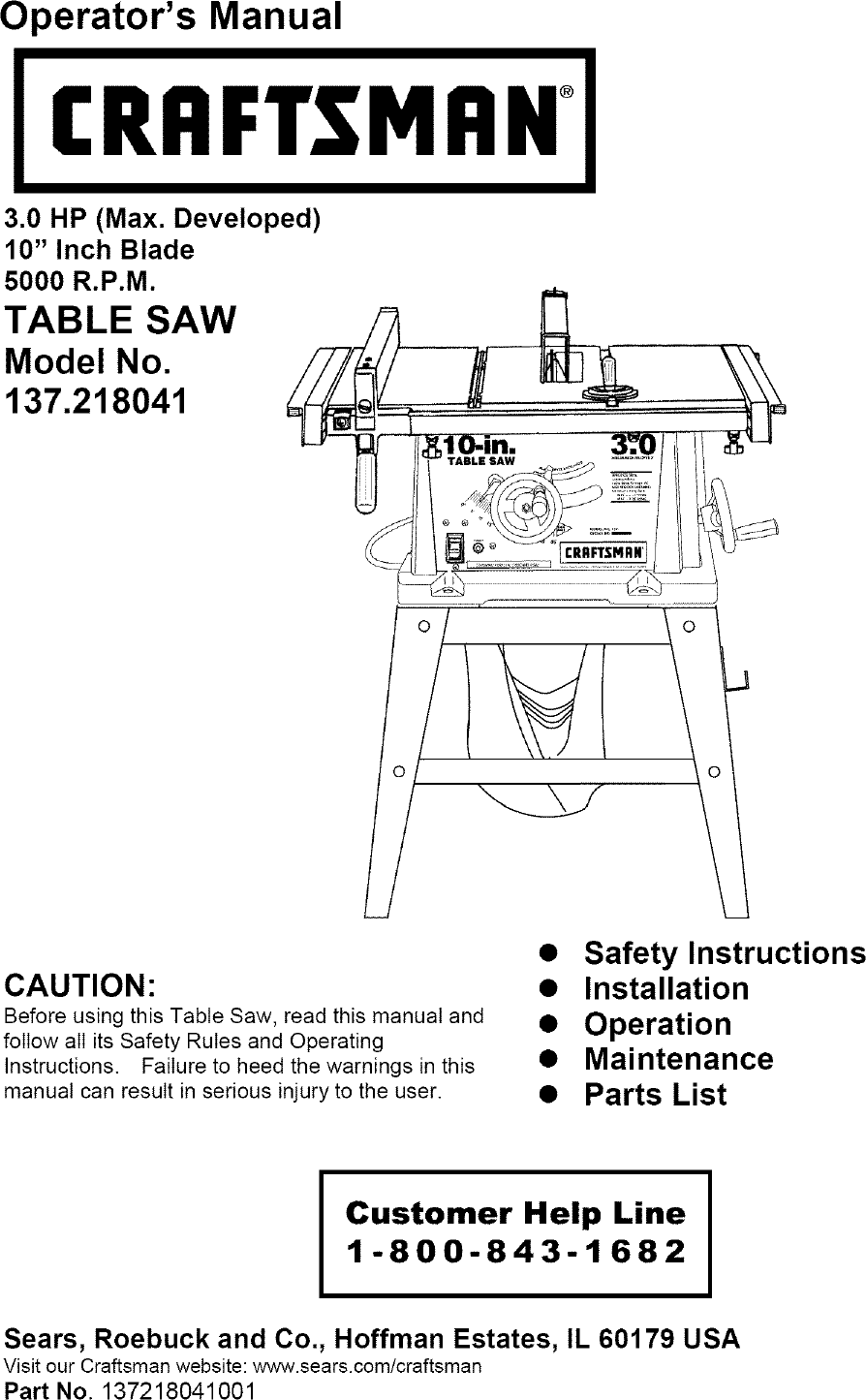 Craftsman 137218041 User Manual Table Saw Manuals And Guides L0606543 Sears 10 Switch Wiring Diagram