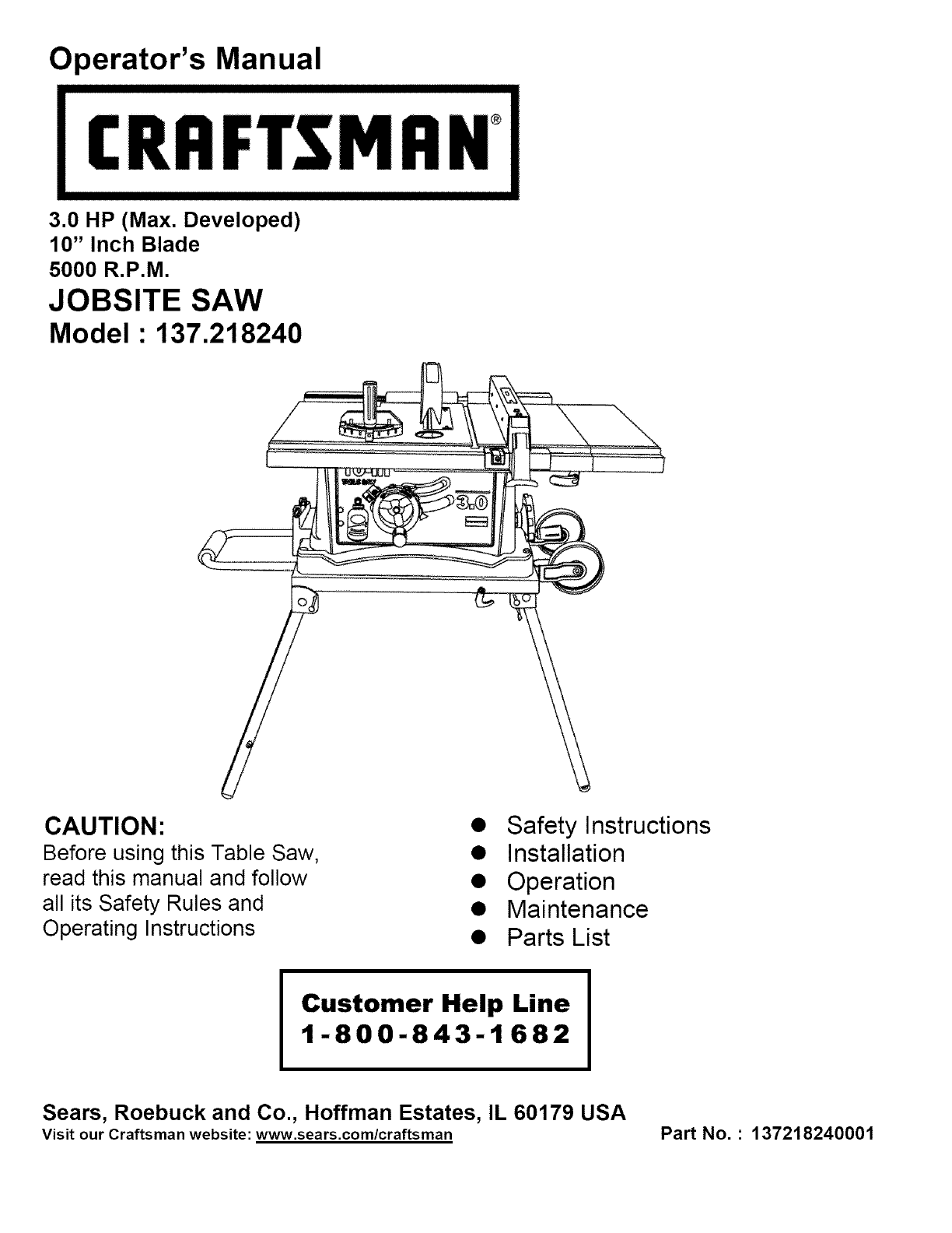 Sears 10 Table Saw Switch Wiring Diagram Craftsman 137218240 User Manual Manuals And Guides L0408137