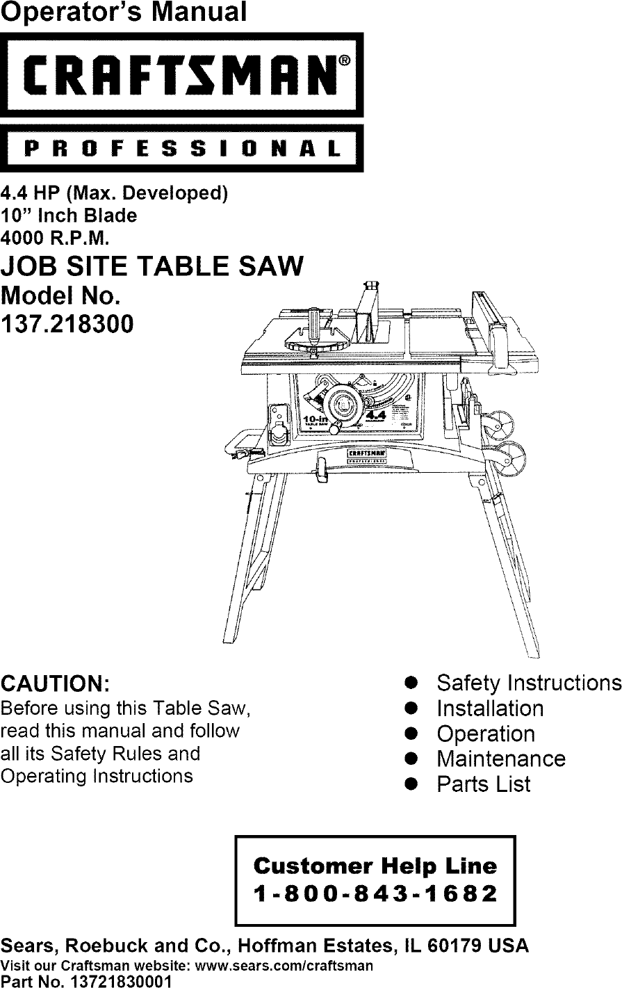 Dewalt 10 U0026quot Job Site Table Saw Parts Manual Guide