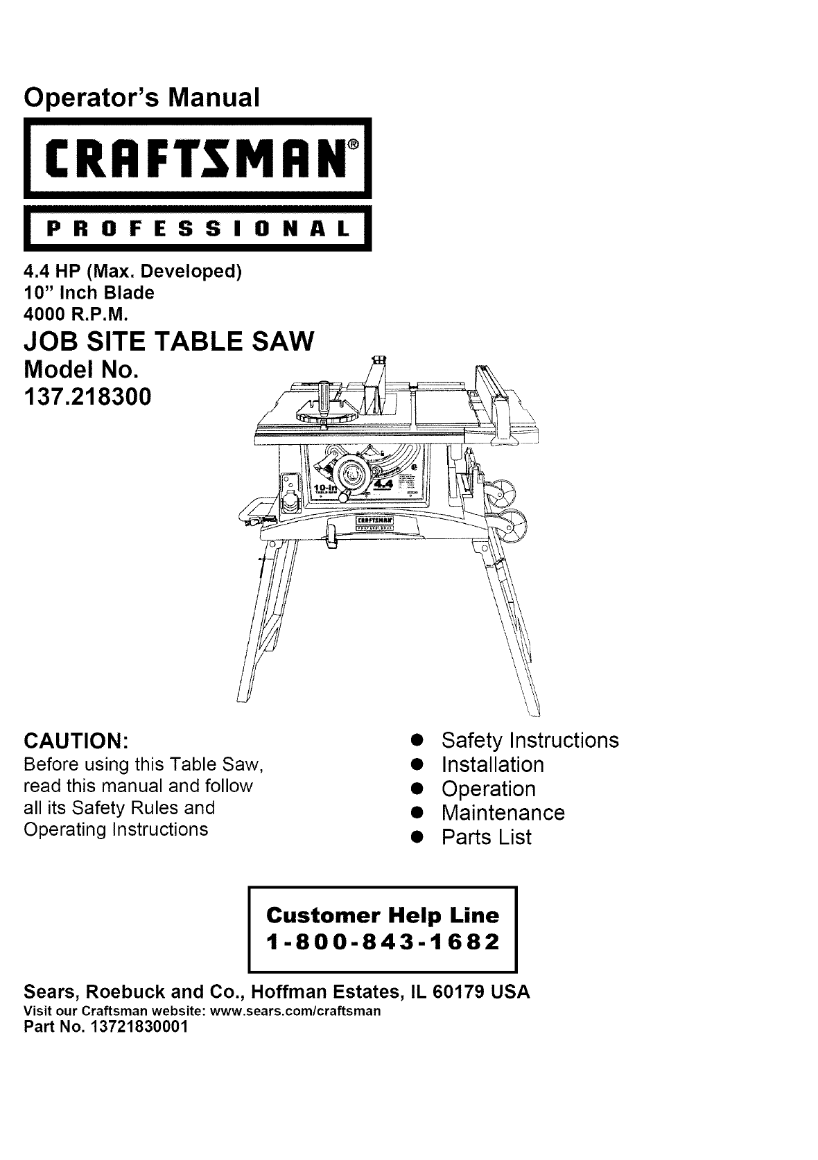 Craftsman 137218300 User Manual Table Saw Manuals And Guides L0409535 1 4 Hp Ii Wiring Diagram