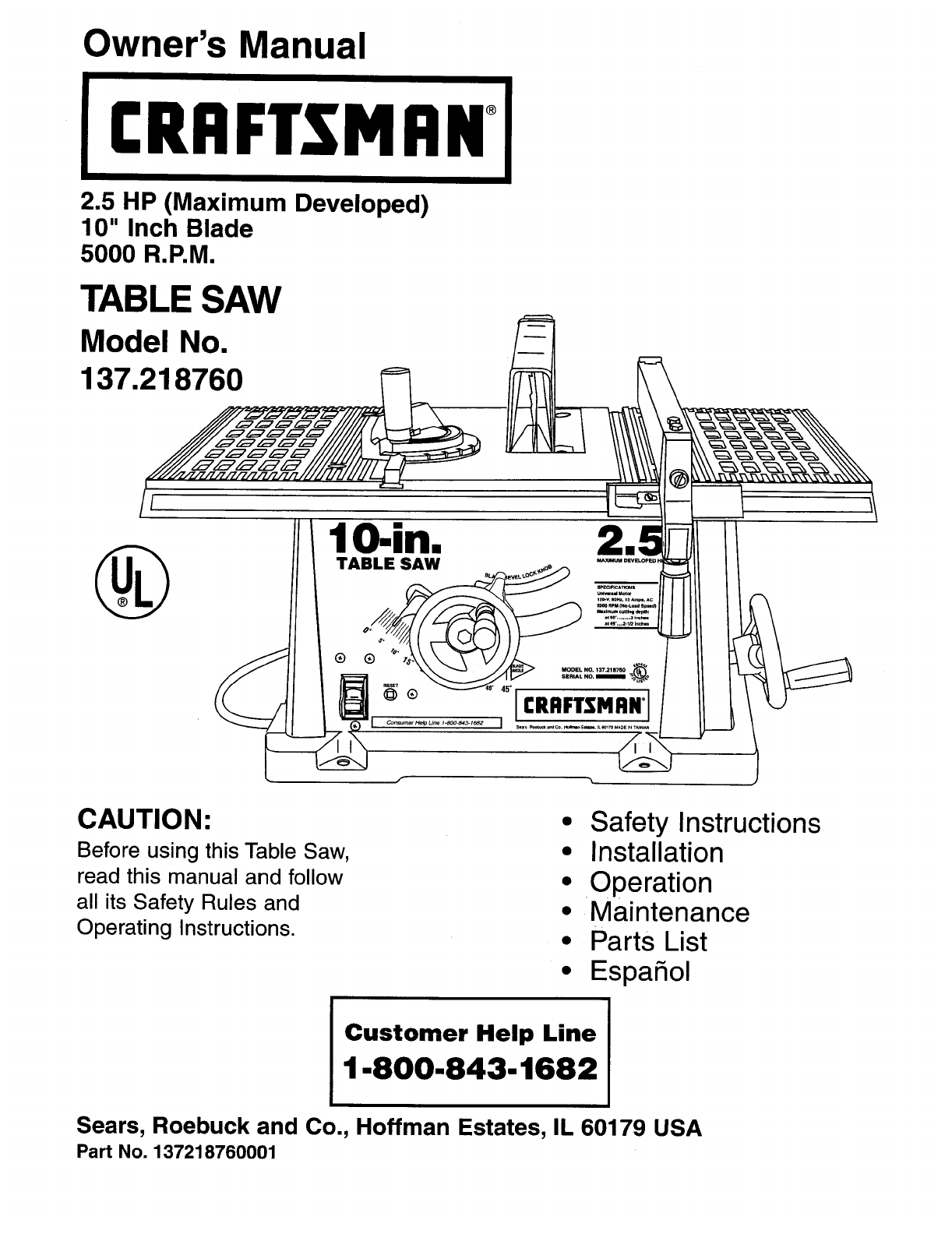 Craftsman 137218760 User Manual 10 Table Saw Manuals And Guides L0912329 Sears Switch Wiring Diagram