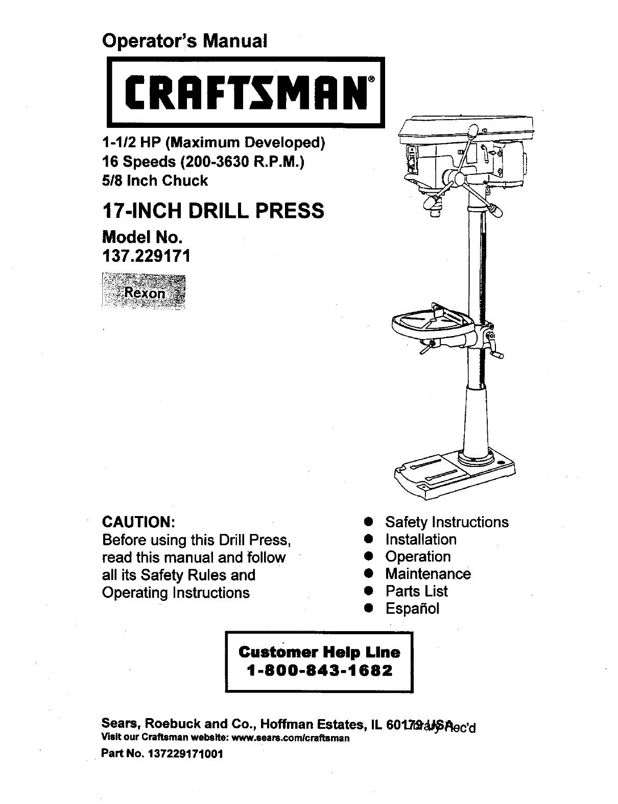 Craftsman Drill Press Parts