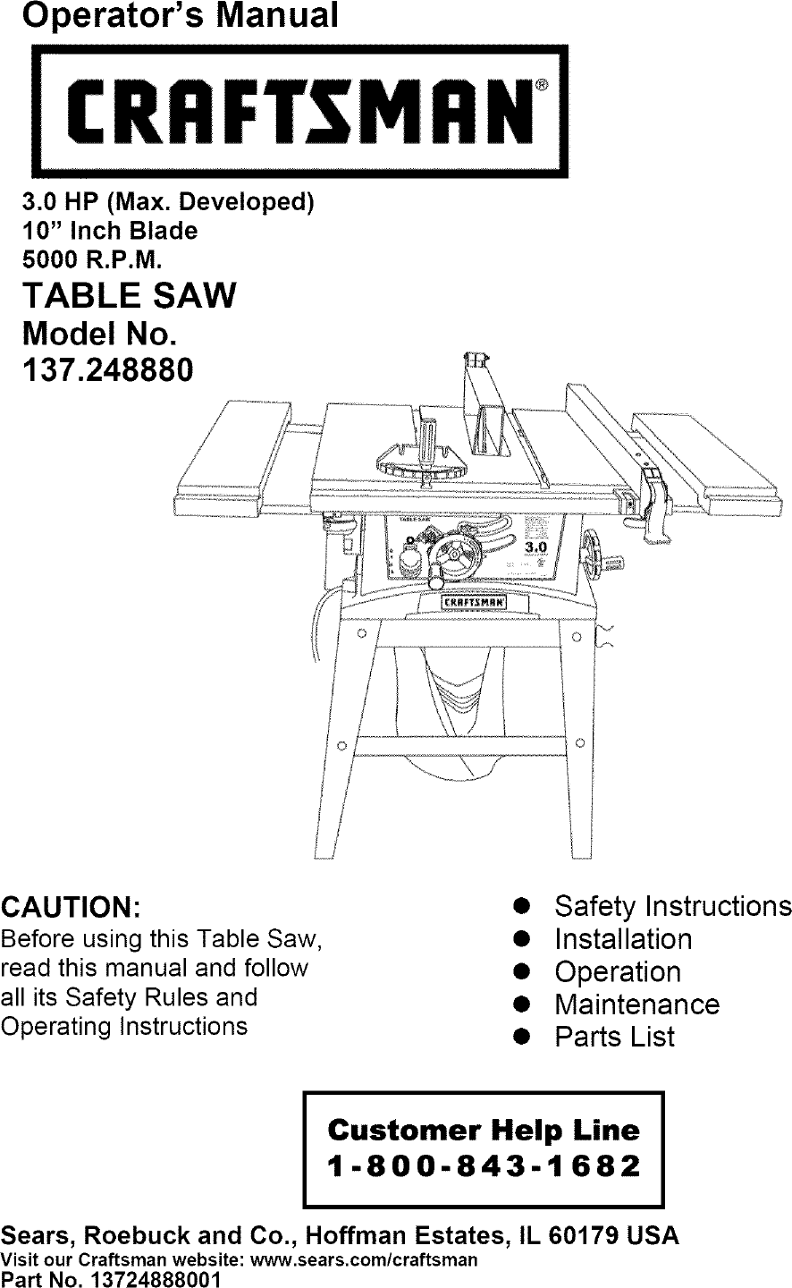 Prime Craftsman 137248880 User Manual Table Saw Manuals And Guides Download Free Architecture Designs Rallybritishbridgeorg
