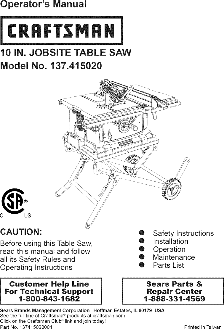 Craftsman 137415020 User Manual Table Saw Manuals And Guides 1402280l Sears 10 Switch Wiring Diagram