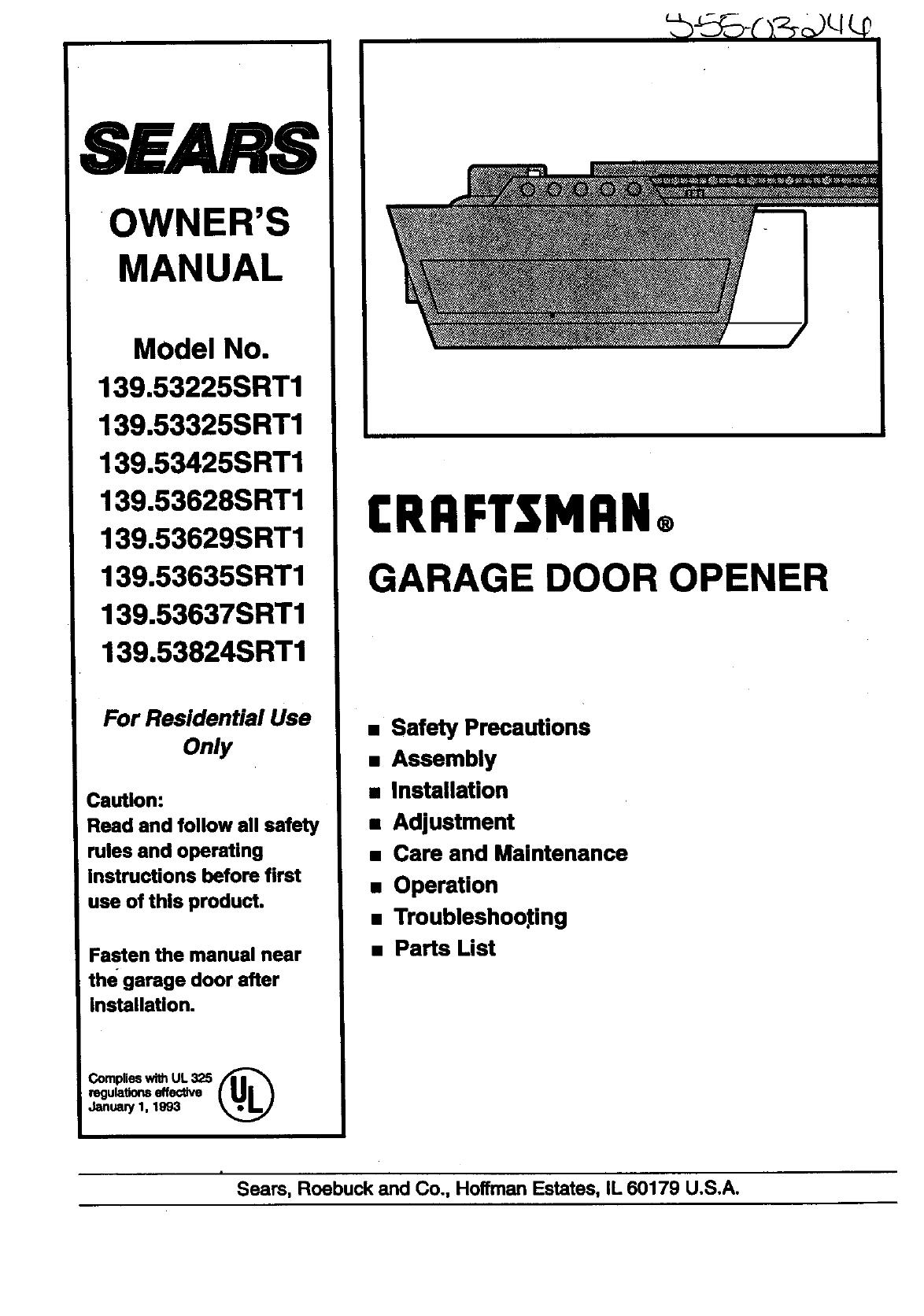 Craftsman 13953225srt1 User Manual Garage Door Opener Manuals And Schematic Installation Guides L9050379