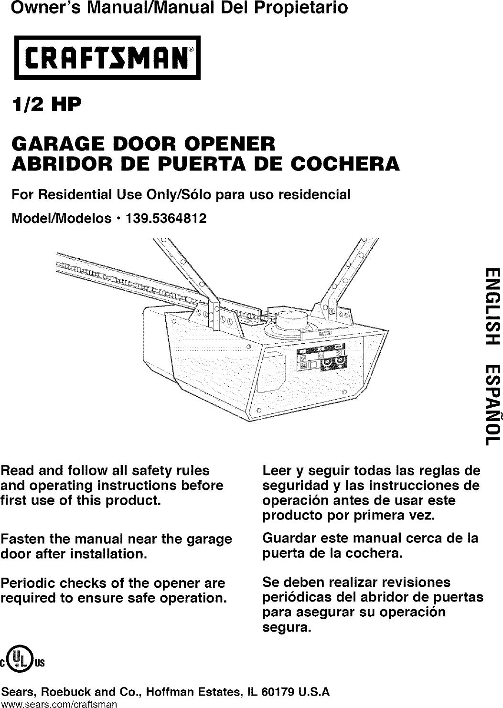 Craftsman 1395364812 User Manual 12 Hp Garage Door Opener Manuals