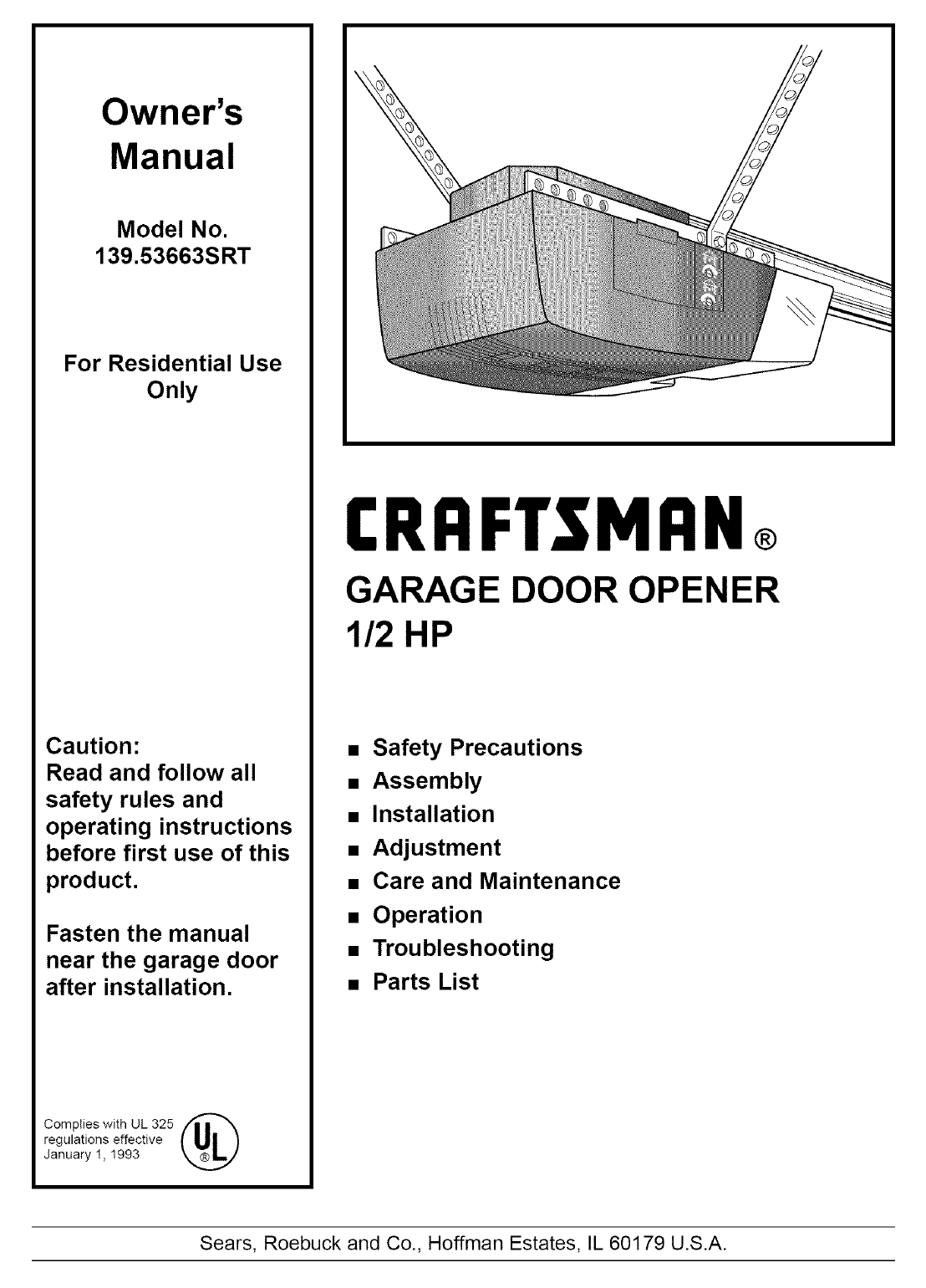 Craftsman 13953663srt User Manual 1 2 Hp Garage Door Opner Manuals And Guides L0712216