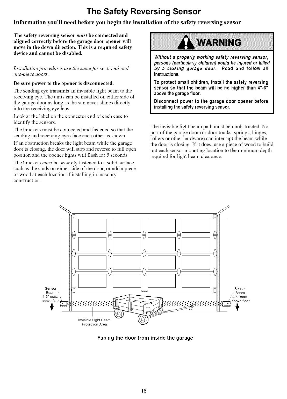 Garage Door Opener Safety Reversing Sensor Wiring Diagram Aligning Byp Craftsman 13953663srt User Manual 1 2 Hp Opner Manuals On