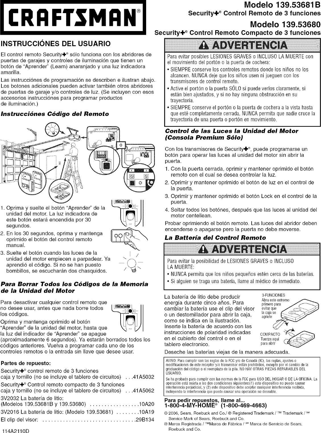 Craftsman 13953680 User Manual Garage Door Opener Manuals And Guides