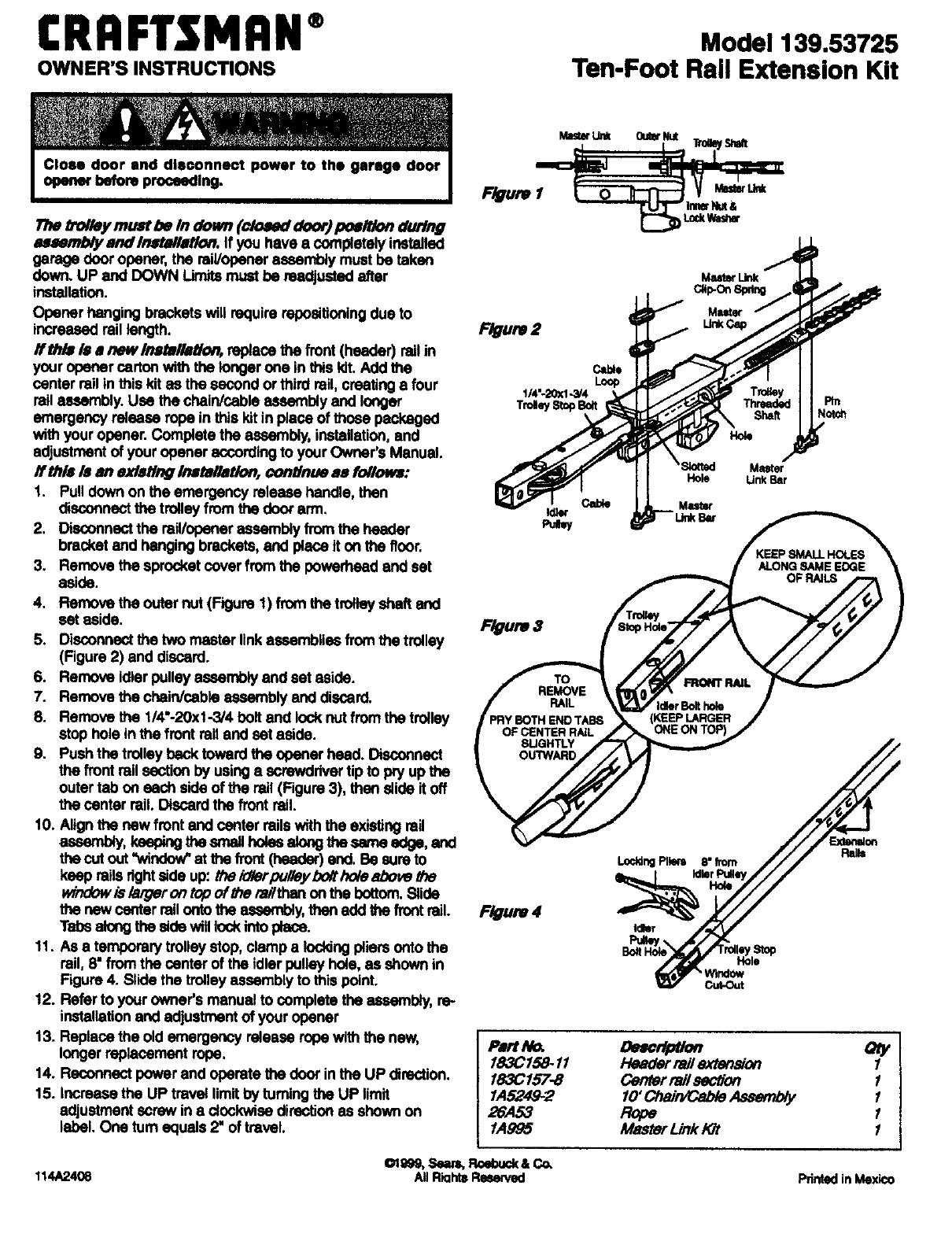 Craftsman 13953725 User Manual Gd0 10 Rail Extension Kit Manuals And Garage Opener Wiring Diagram Guides L9090029