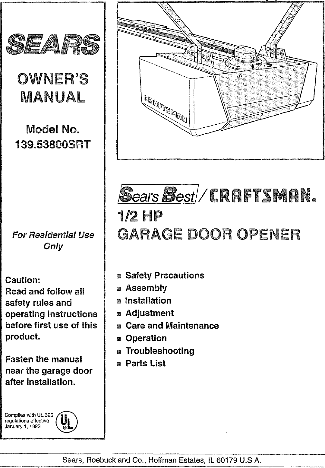 Craftsman 13953800srt User Manual 1 2 Hp Garage Door Opener Manuals And Guides L0804477