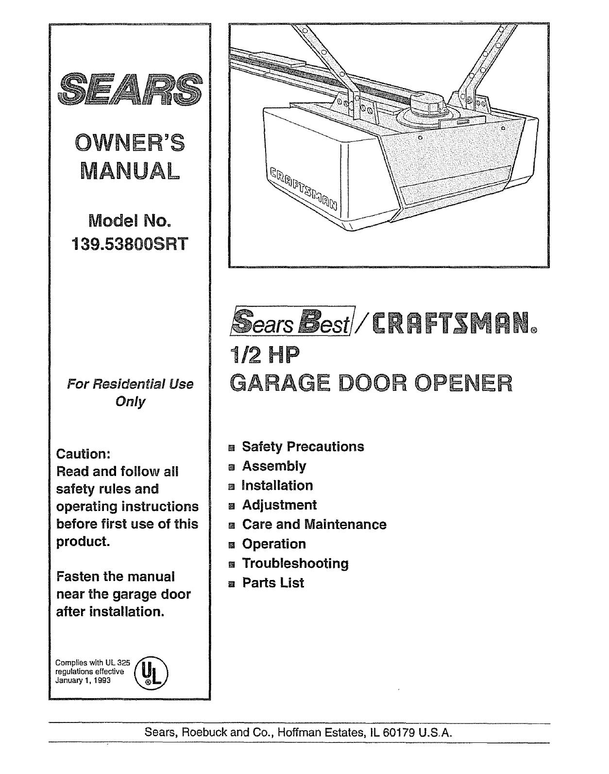 Craftsman 13953800srt User Manual 12 Hp Garage Door Opener Manuals