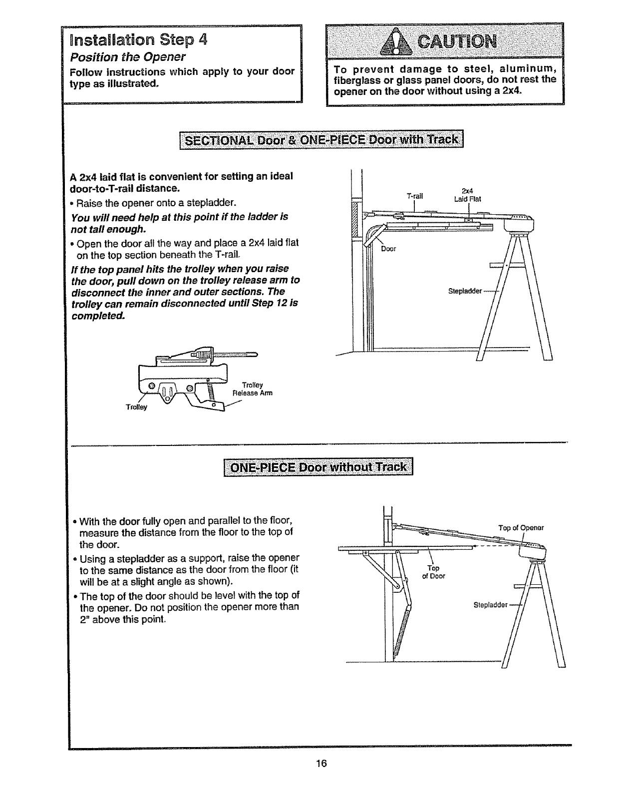 Craftsman 13953800srt User Manual 1 2 Hp Garage Door Opener Manuals Helical Wire Harness Lay Nstaubation Step 4