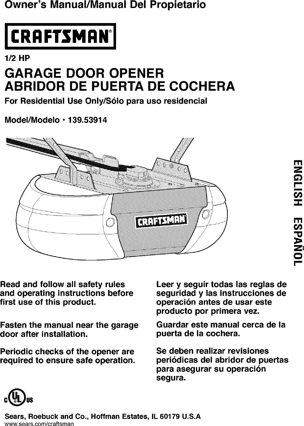 Craftsman 13953914 User Manual GARAGE DOOR OPENER Manuals ... on