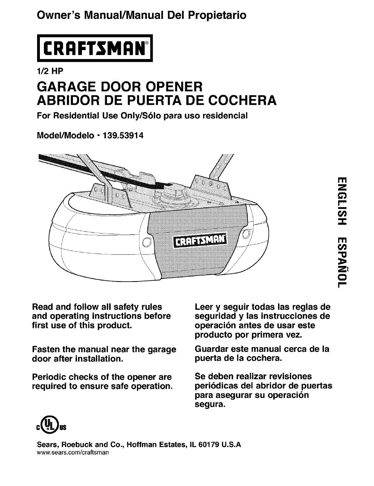 Craftsman 13953914 User Manual Garage Door Opener Manuals And Guides