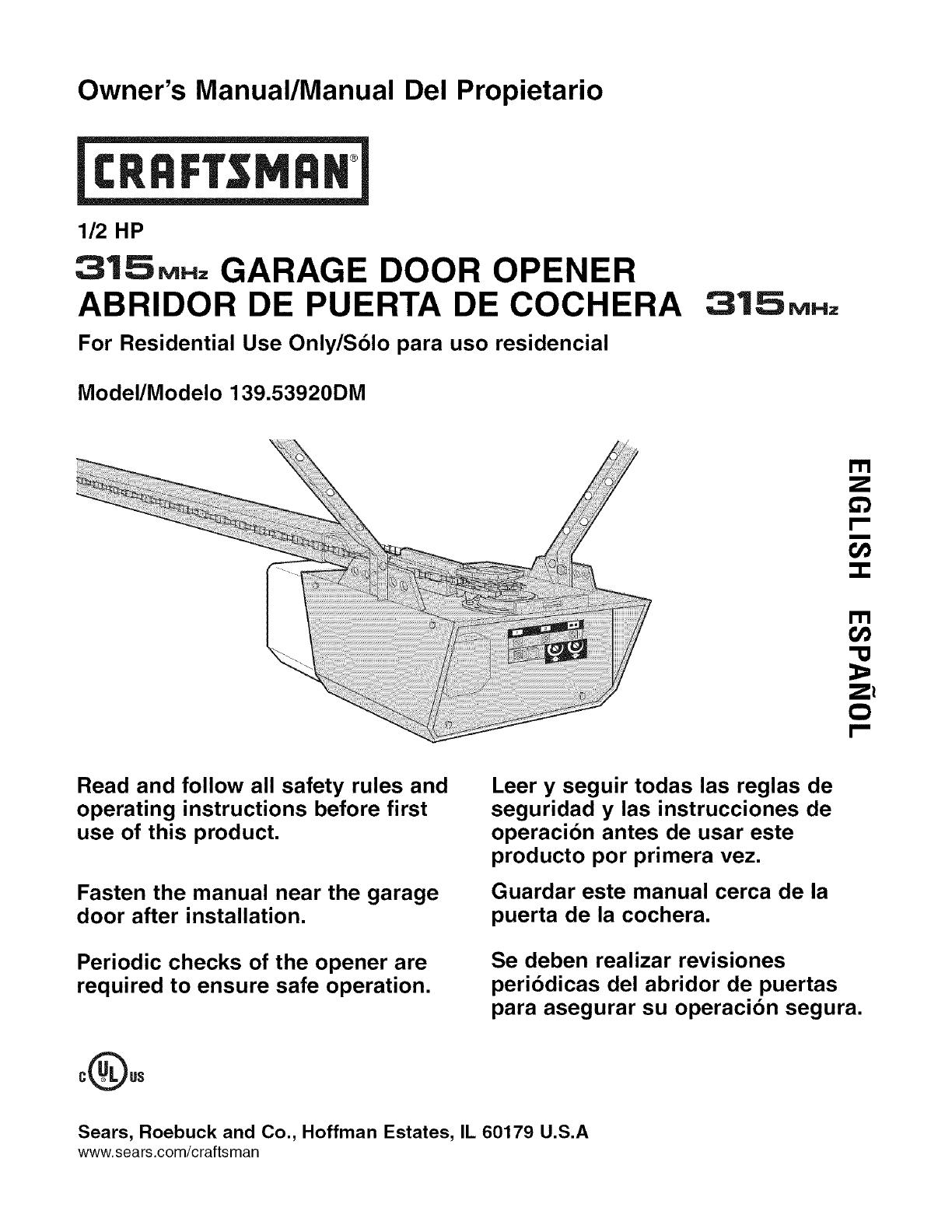 Craftsman 13953920dm User Manual Garage Door Opener Manuals And