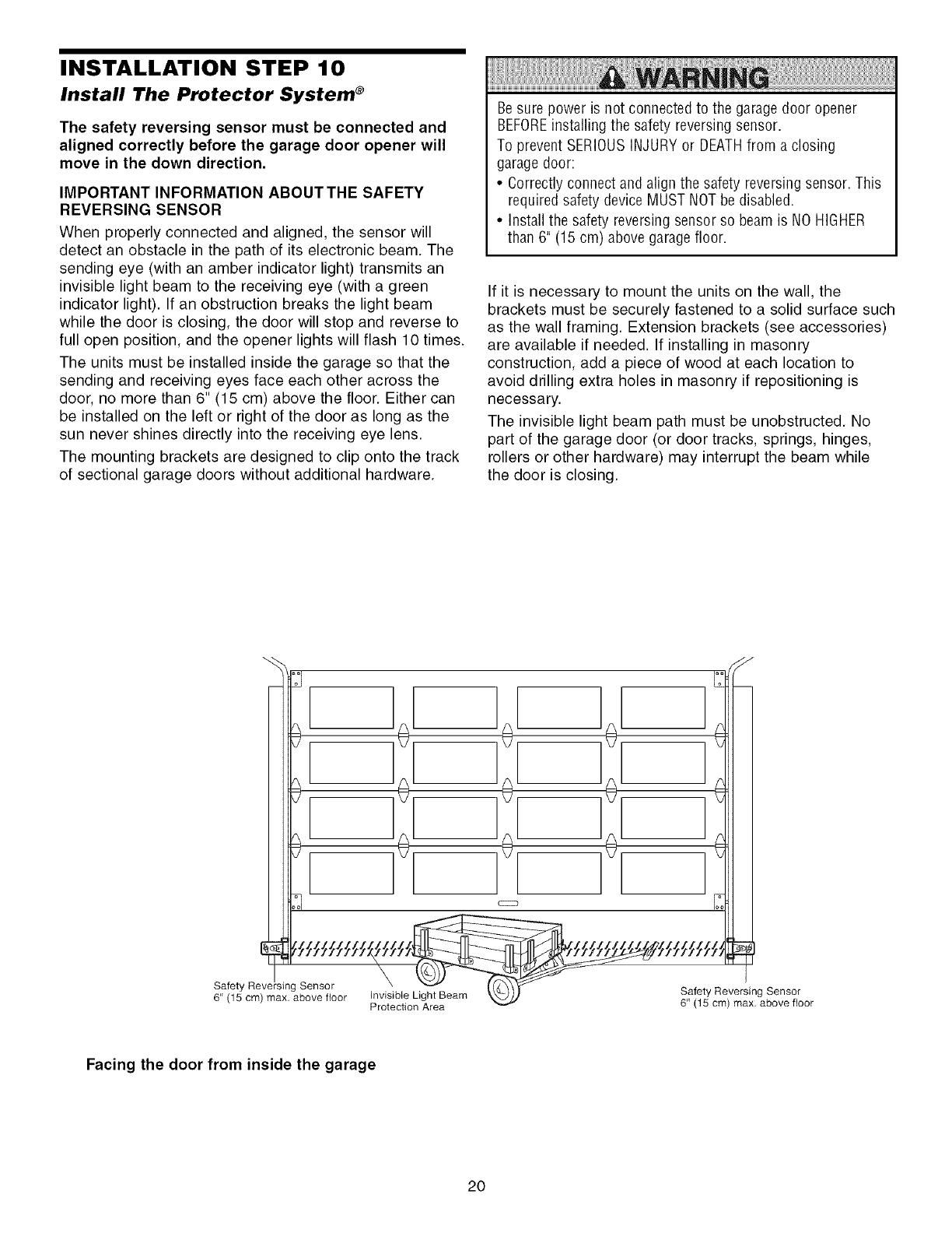 Garage Door Opener Safety Reversing Sensor Wiring Diagram Light For Craftsman 13953930dm User Manual Manuals And