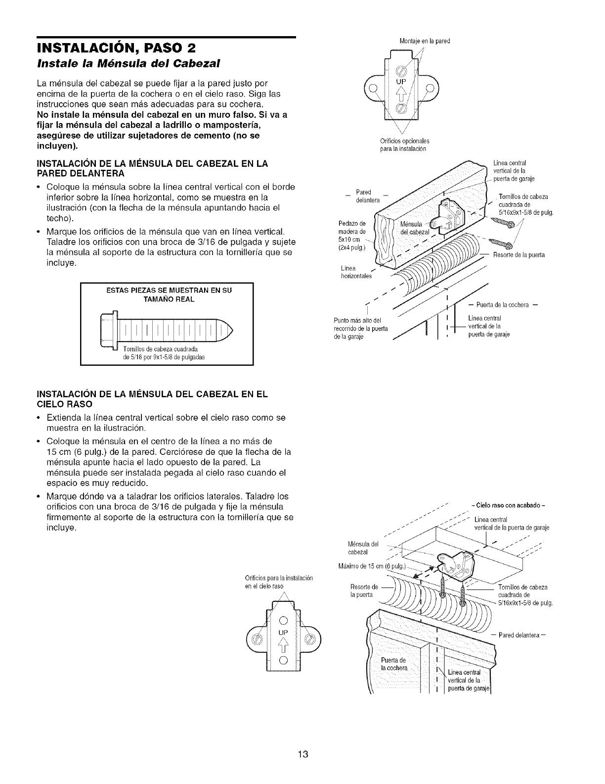 craftsman 13953930dm user manual garage door opener manuals and Garage Electrical Wiring Diagrams instalaci n paso 2