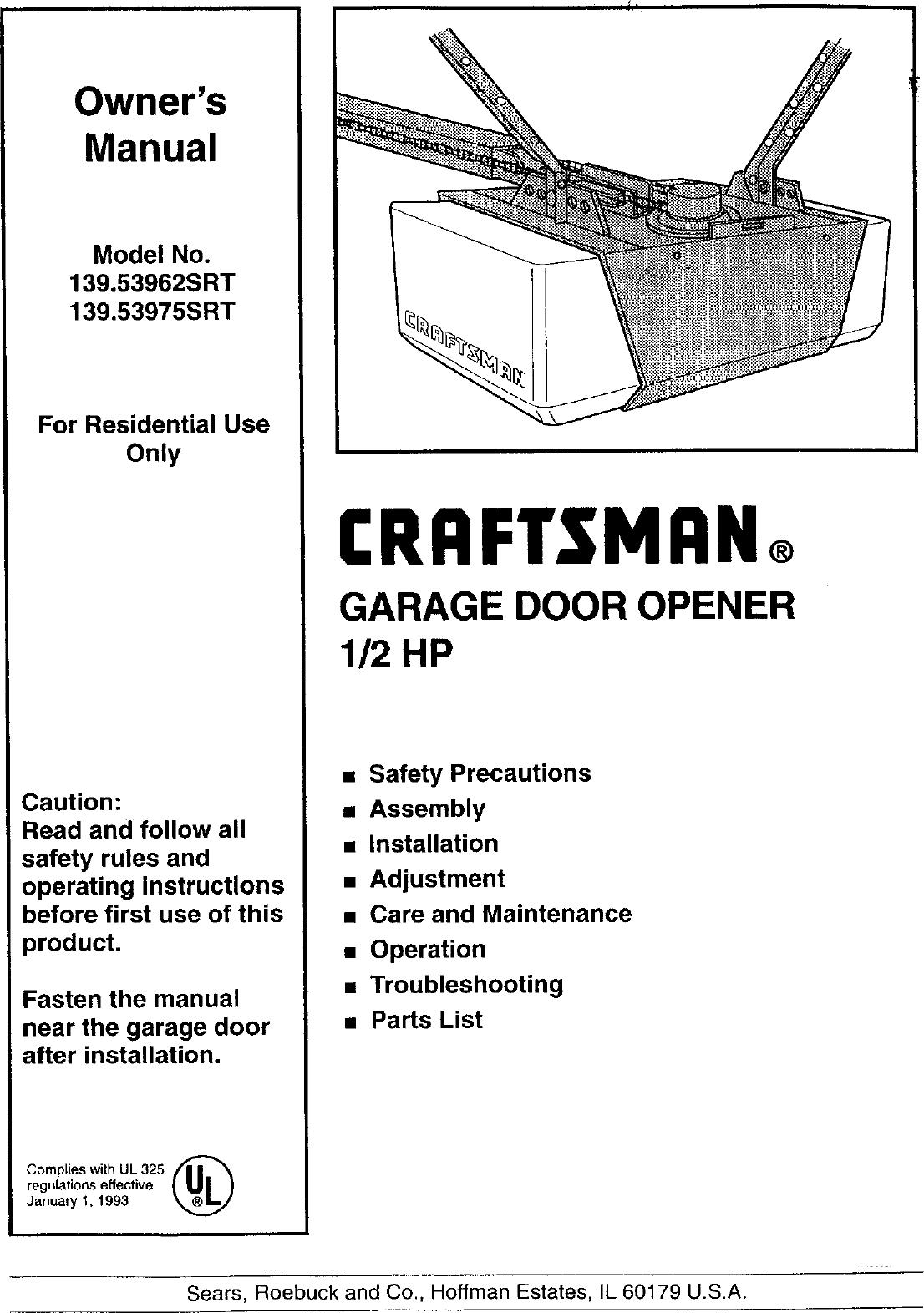Craftsman Garage Door Opener Manual 1999 1 2 Hp