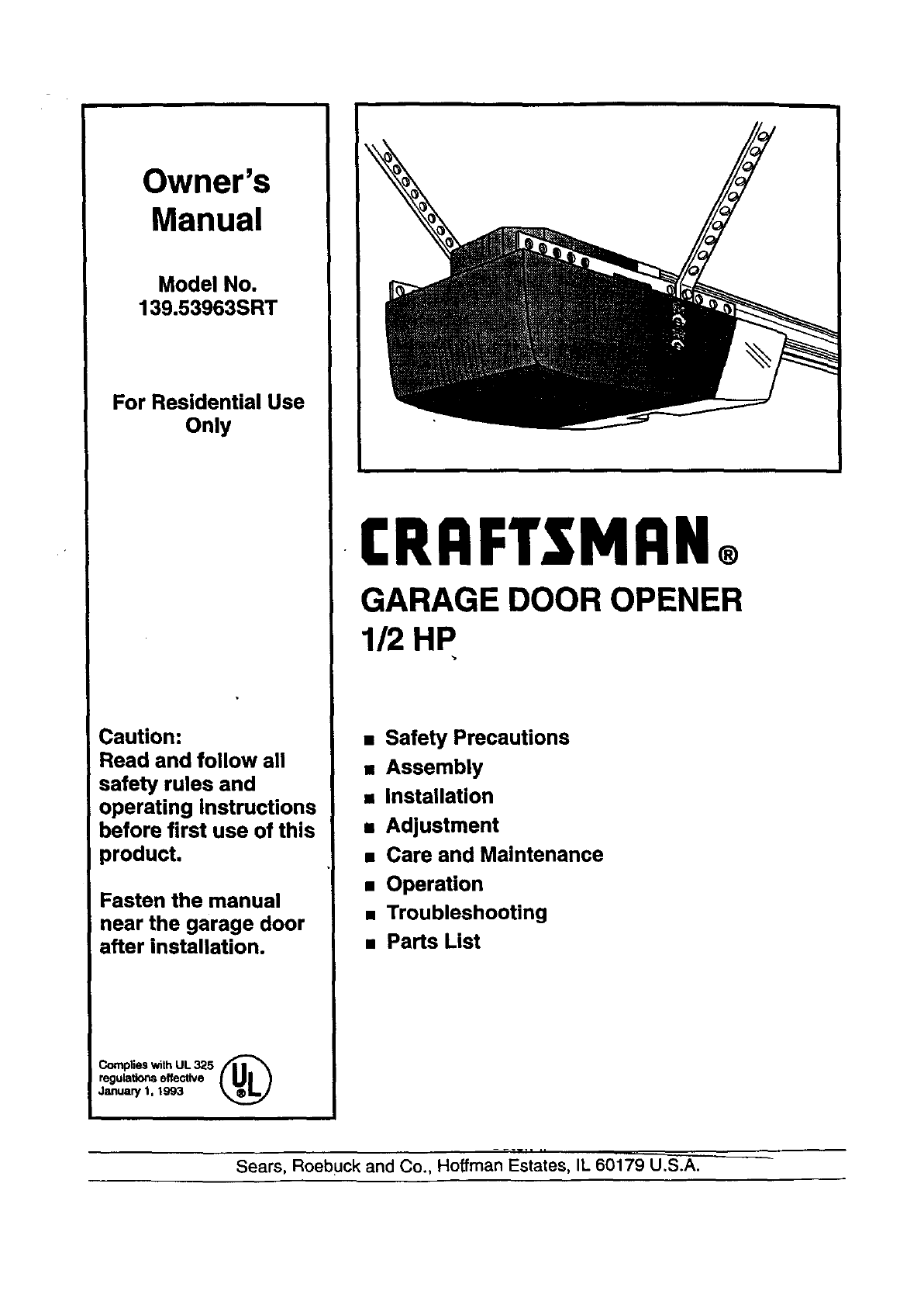 Craftsman 13953963srt User Manual Garage Door Opener Manuals And Troubleshooting Guides L9060009