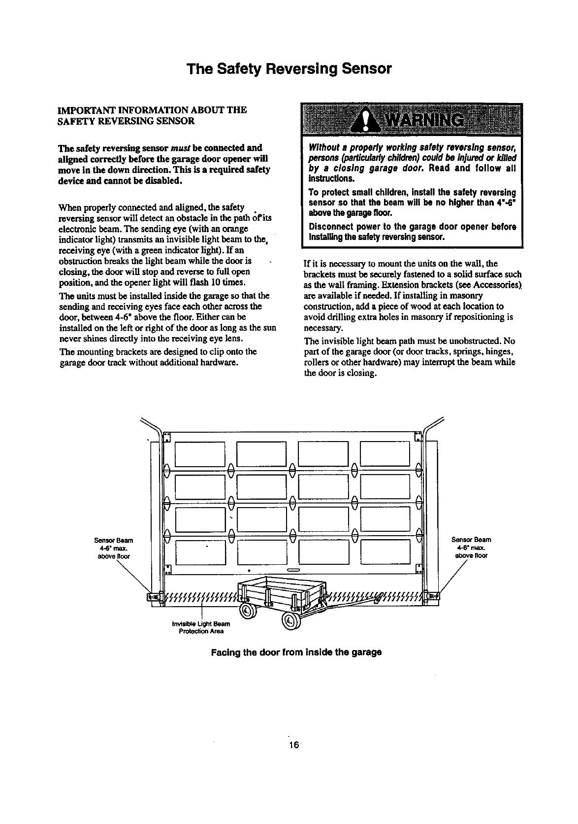 Craftsman 13953963srt User Manual Garage Door Opener Manuals And Safety Reversing Sensor Wiring Diagram Guides L9060009