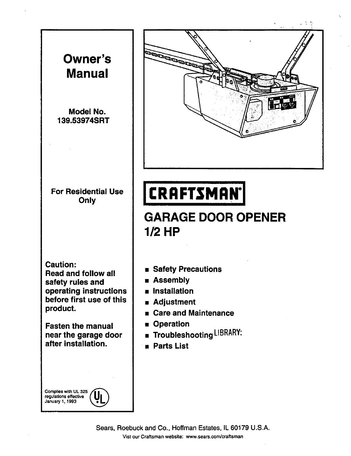Craftsman 13953974srt User Manual Garage Door Opener Manuals And