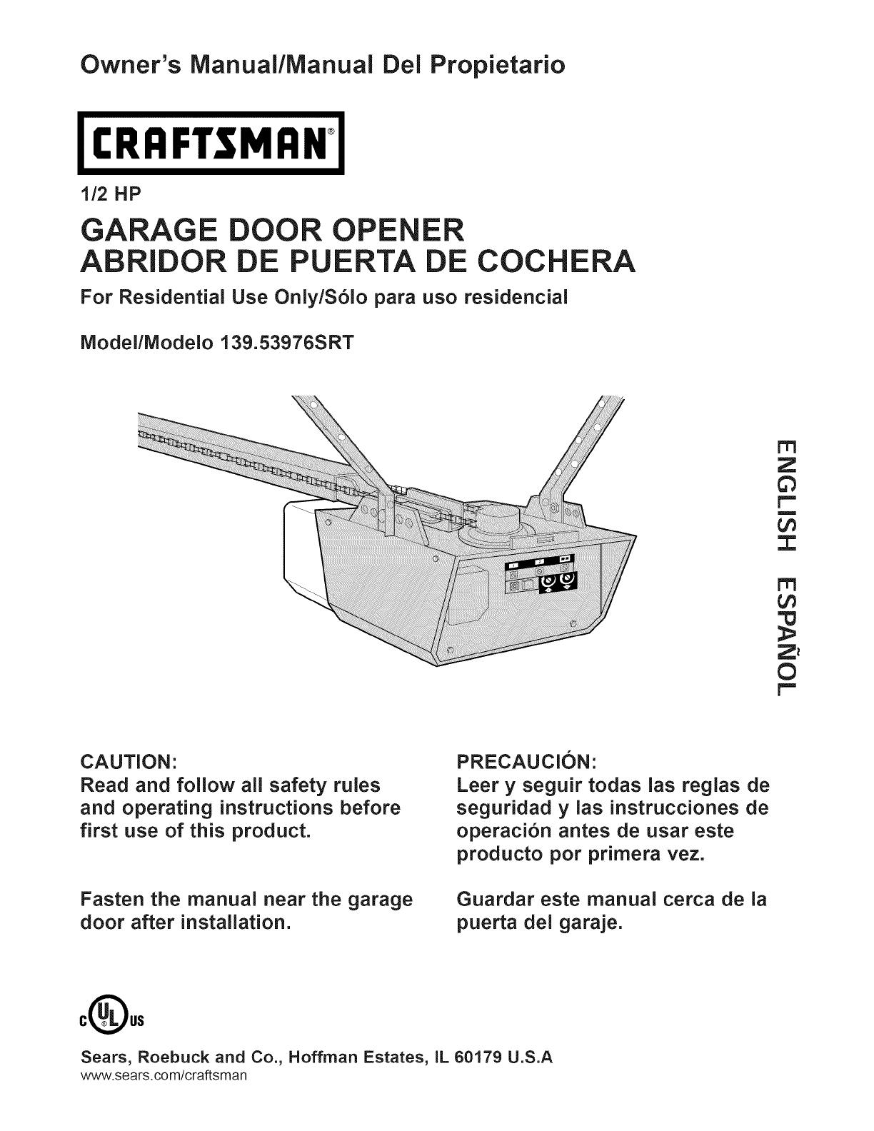 Craftsman 13953976srt User Manual Garage Door Opener Manuals And