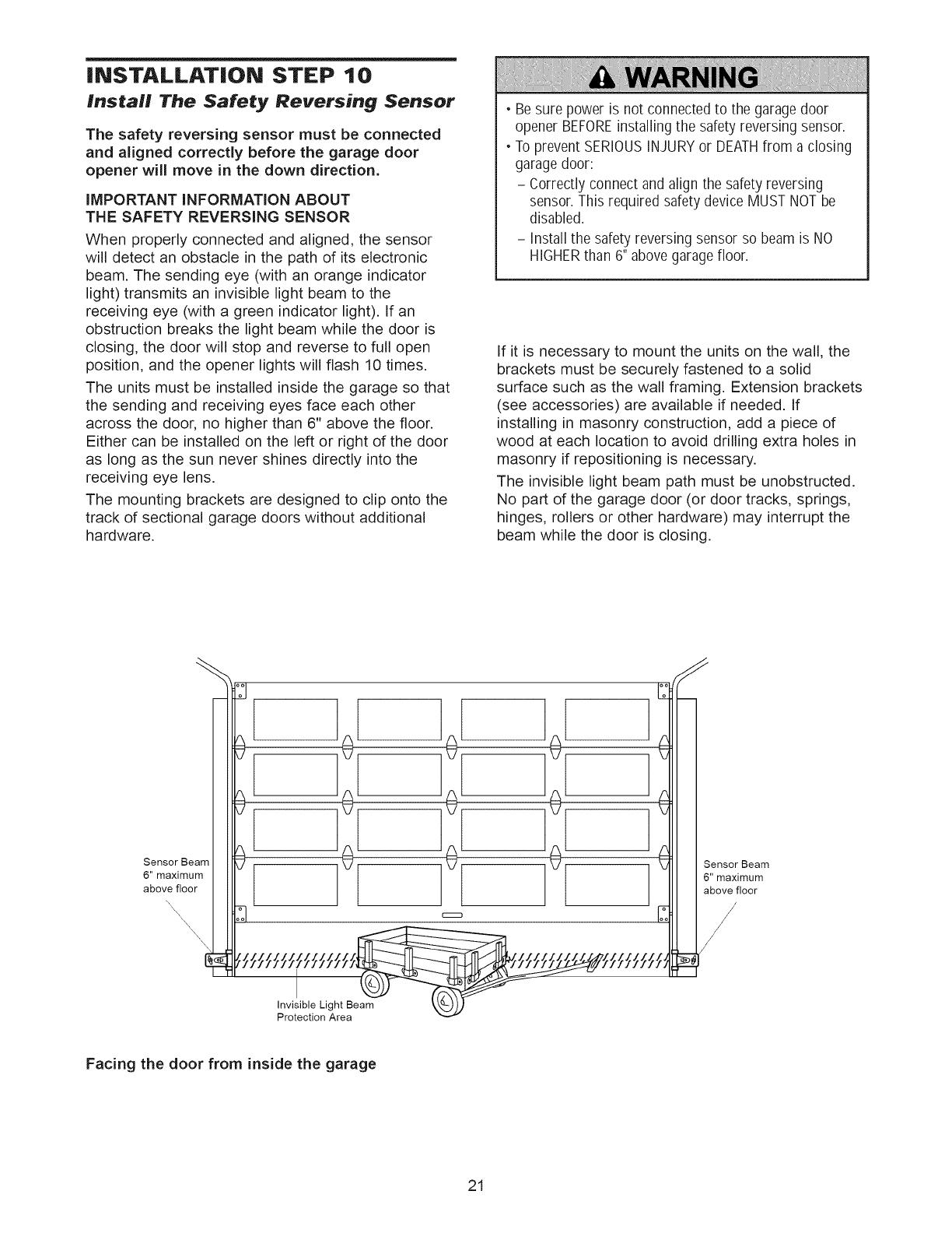 Craftsman 13953976srt User Manual Garage Door Opener Manuals And Safety Reversing Sensor Wiring Diagram Installation Step 10 Install The