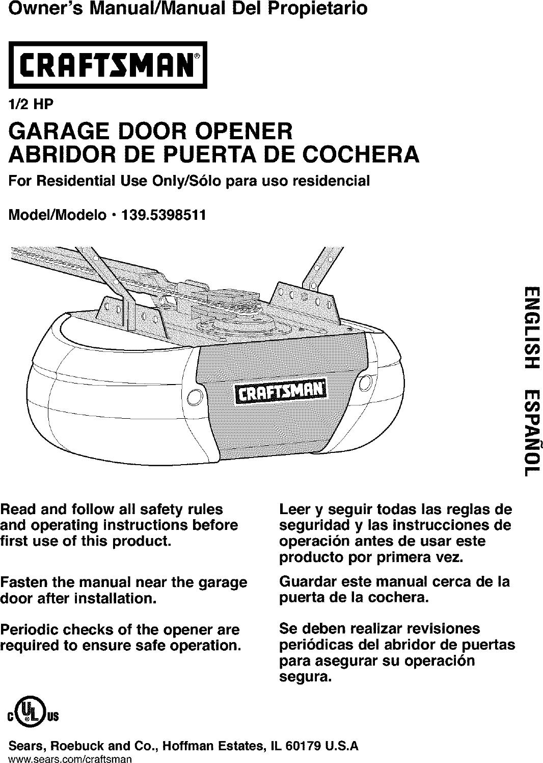 Craftsman 1395398511 User Manual Garage Door Opener Manuals And Wiring Diagram Besides Guides L0403216
