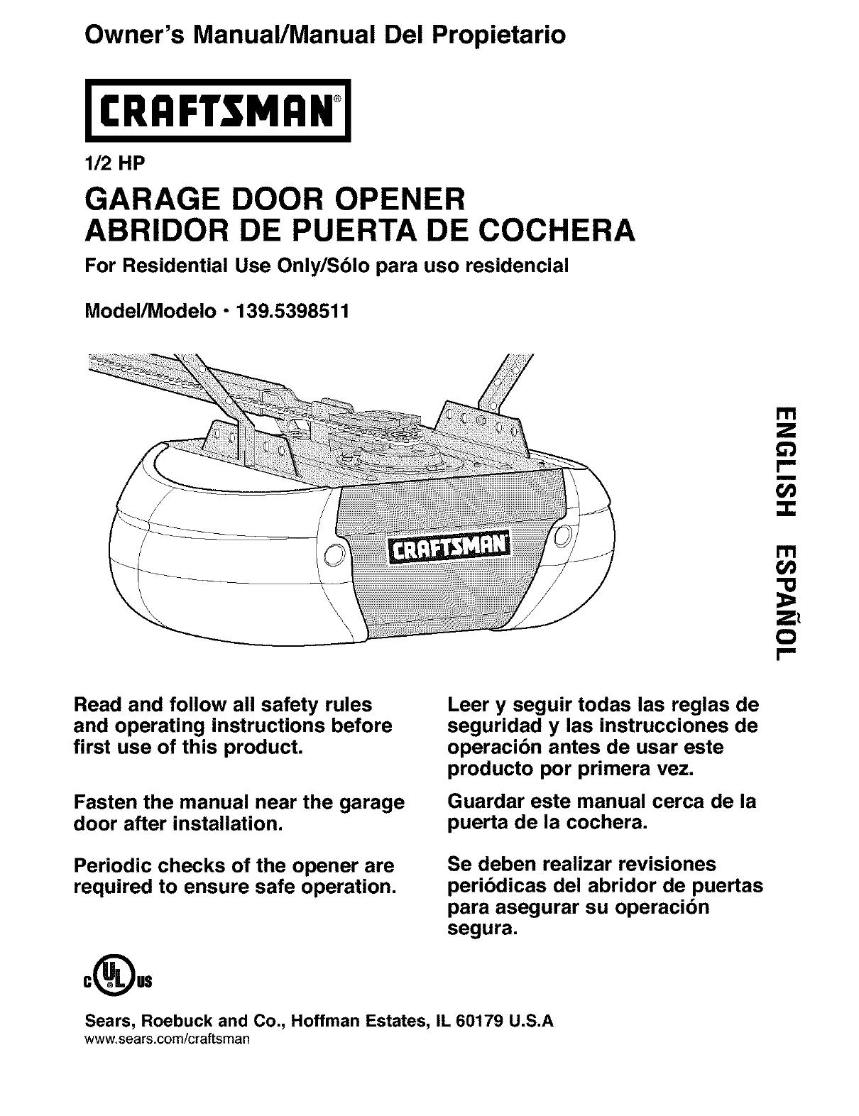 Craftsman 1395398511 User Manual Garage Door Opener Manuals And