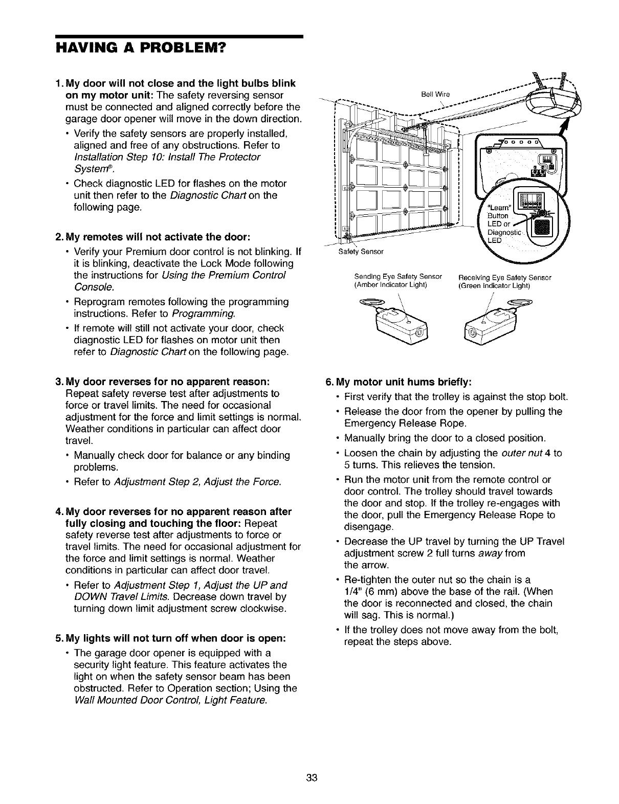 Garage Door Opener Safety Beam Troubleshooting Ideas Reversing Sensor Wiring Diagram Craftsman 1395398511 User Manual Manuals And