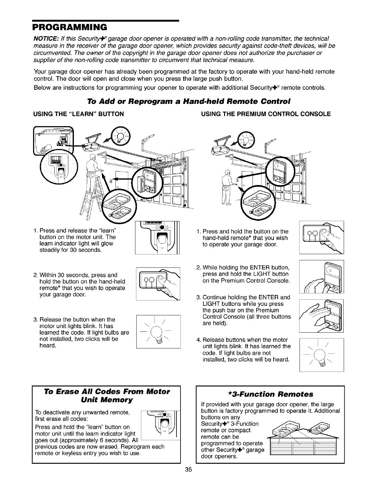 Craftsman 1395398511 User Manual Garage Door Opener Manuals And Wiring Diagram Besides Programming Notice If This Security